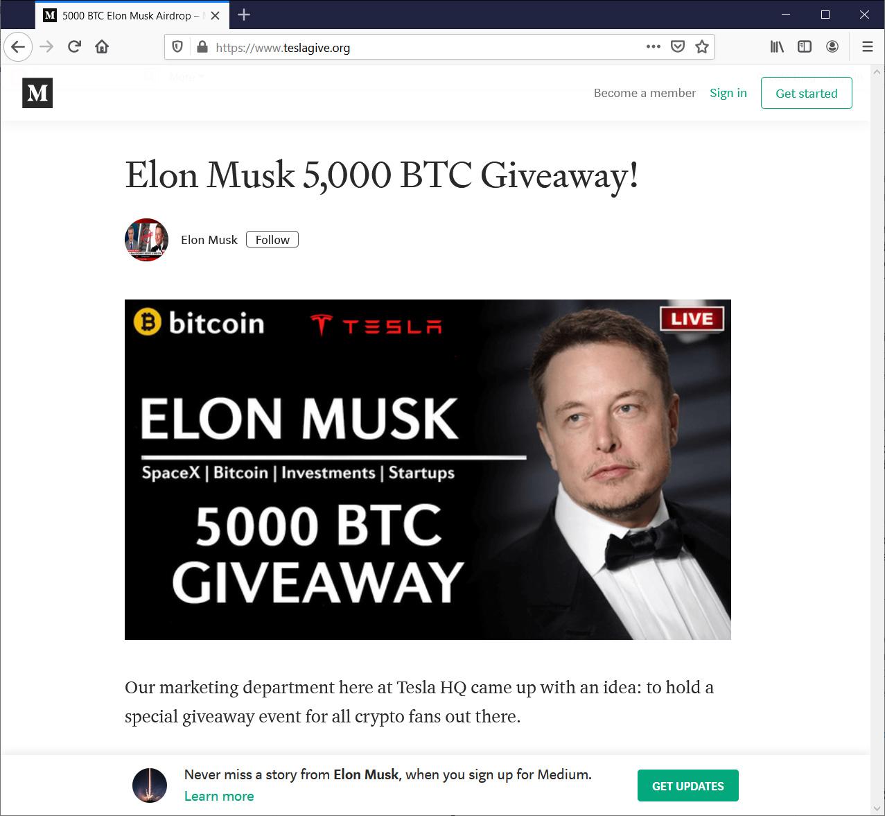 Fake Elon Musk Medium post