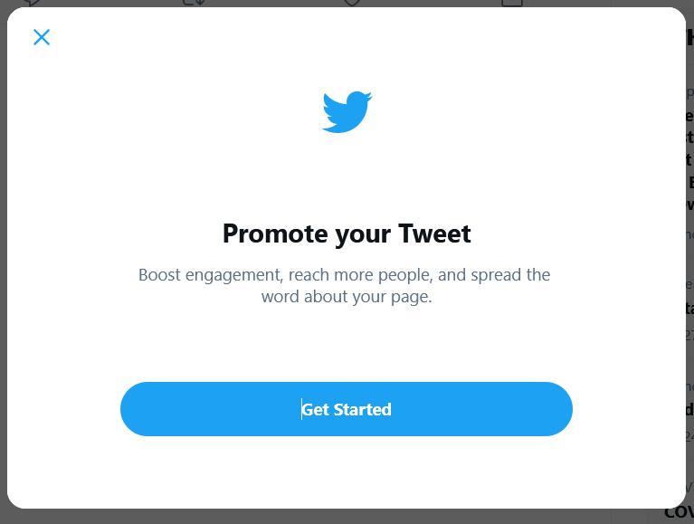 Promoting a tweet on Twitter