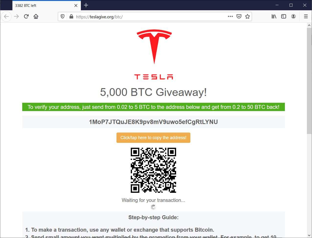 Fake Tesla giveaway landing page