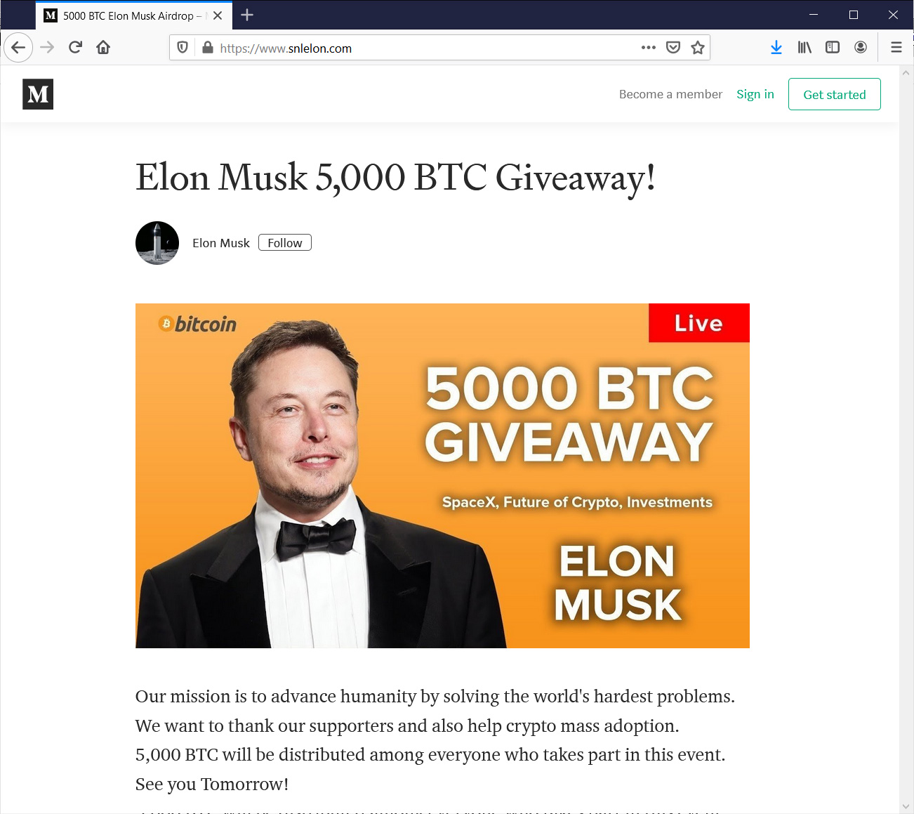 Fake Tesla cryptocurrency giveaway site
