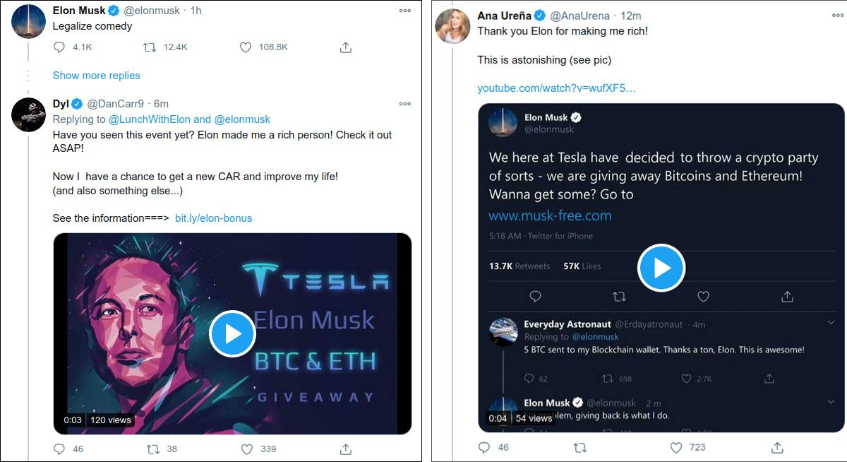 가짜 Elon Musk 암호화 사기를 홍보하는 트윗