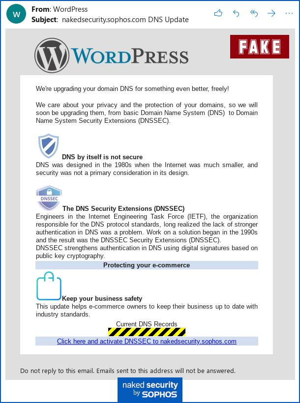 Phishing email sent to website owners