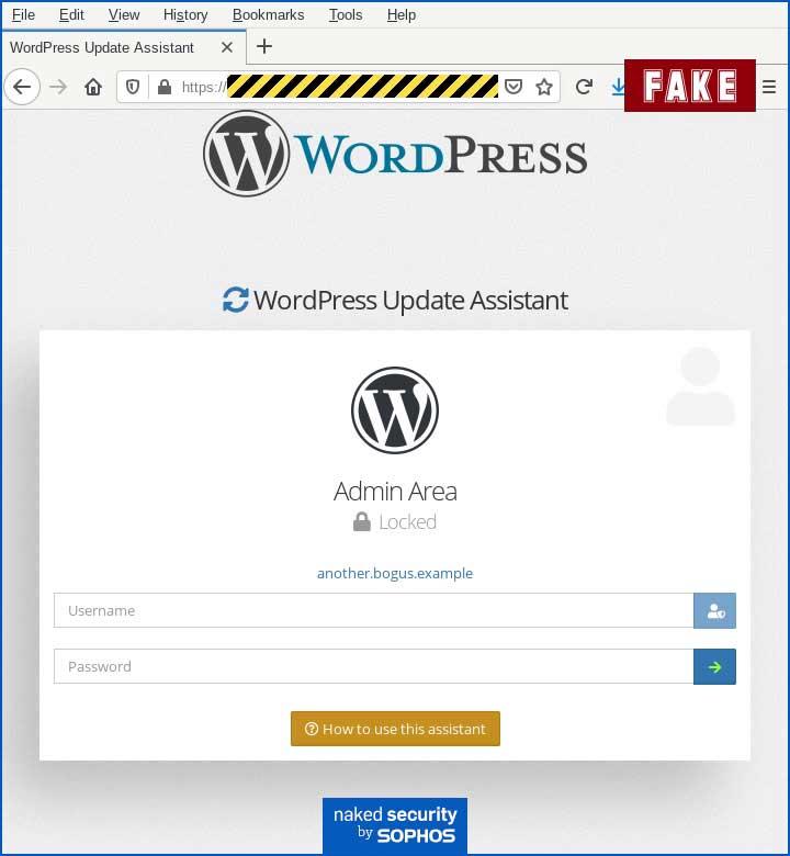 Fake WordPress Update Assistant landing page