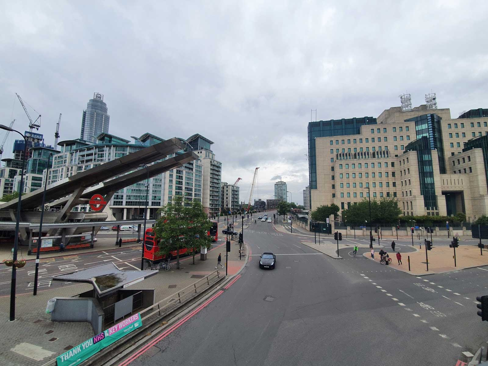 view of Vauxhall Cross with MI5 building on the right hand side