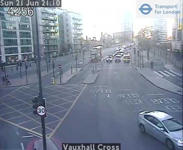 Live footage of Vauxhall cross