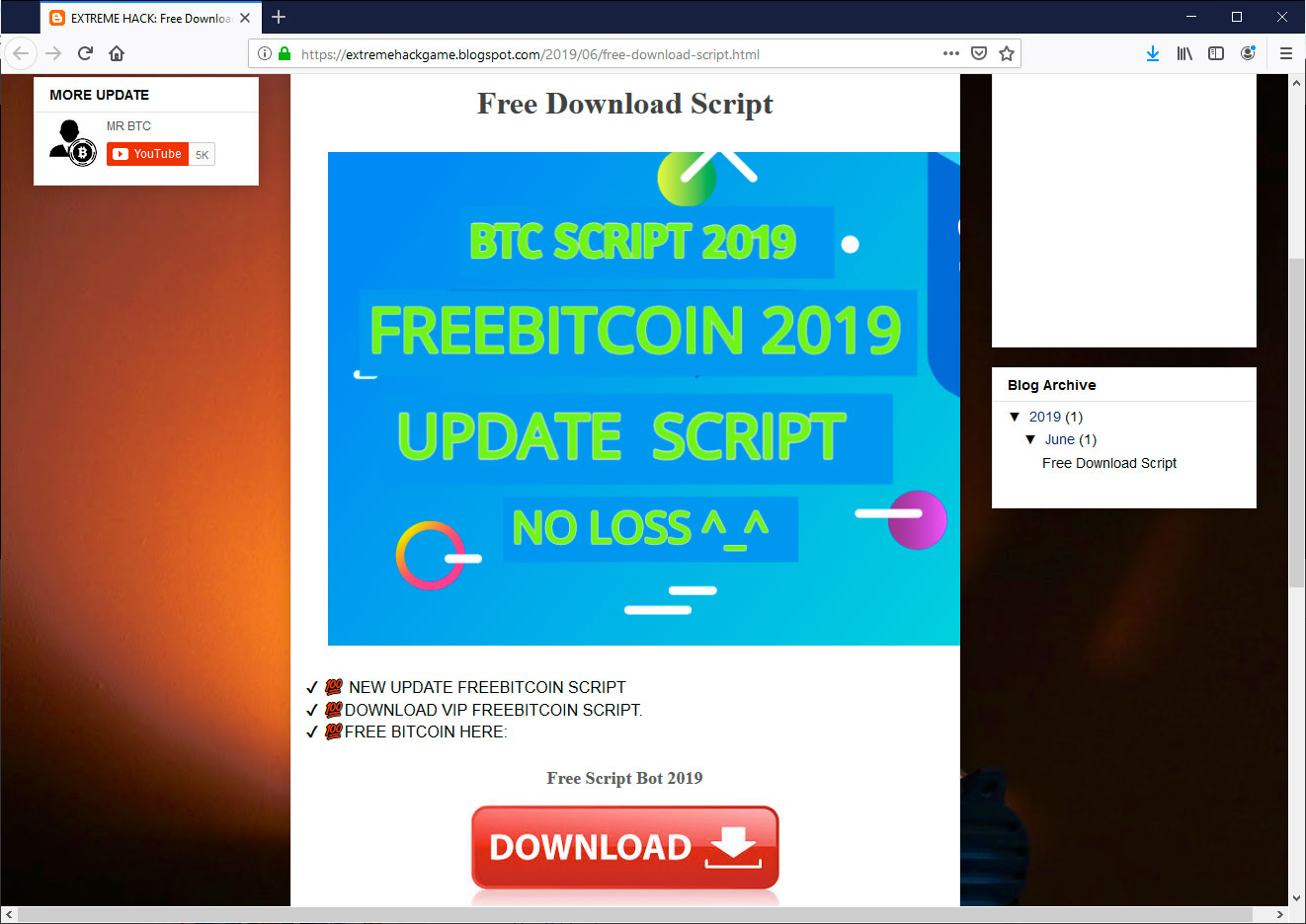 YouTube Bitcoin Scams Pushing the njRAT Backdoor InfoStealer