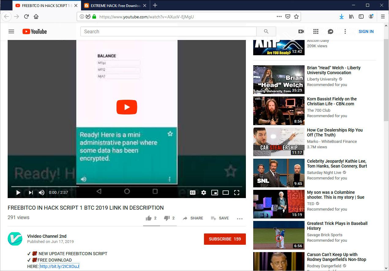 YouTube Bitcoin Scam
