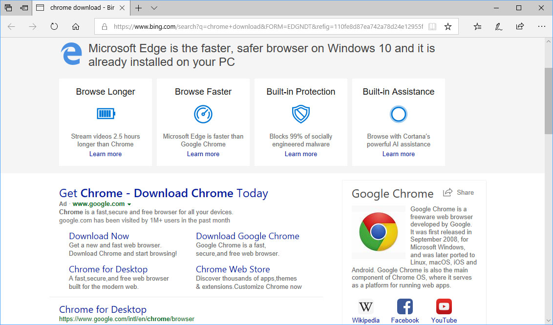 Chrome Download Search Advertisement