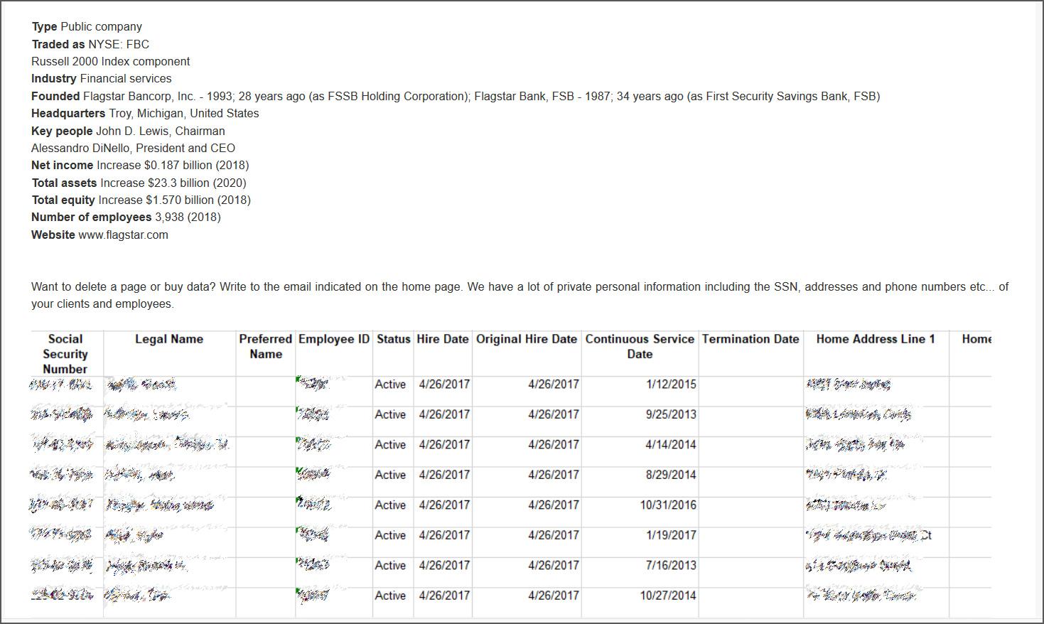 Screenshots of Flagstar data shared on Clop ransomware site