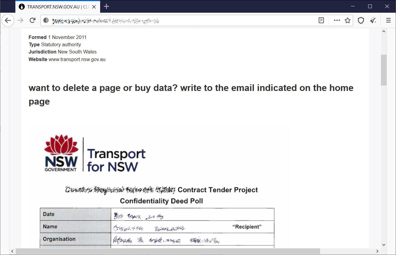 Transport for NSW data leak