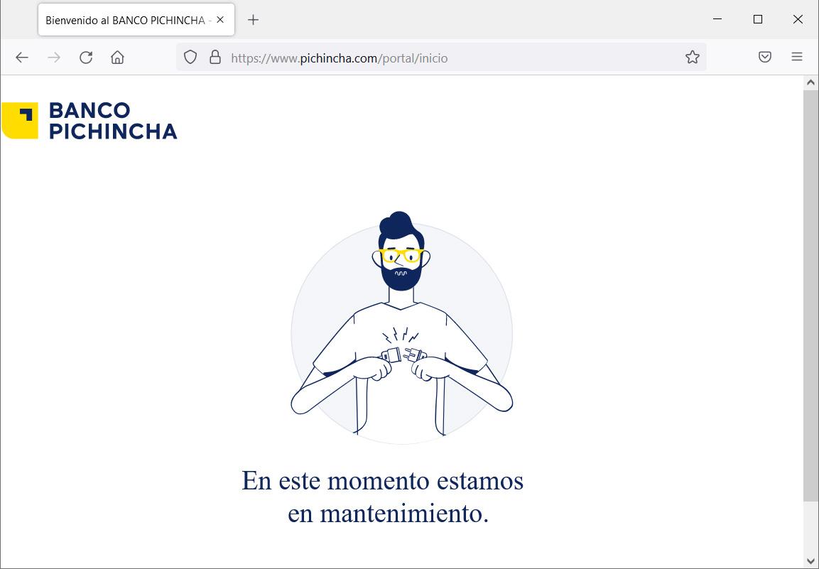 Banco Pichincha website showing a maintenance message