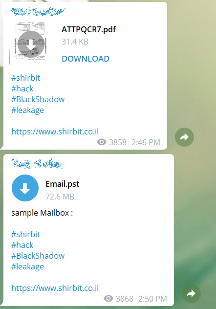 Datos de Shirbit filtrados en Telegram