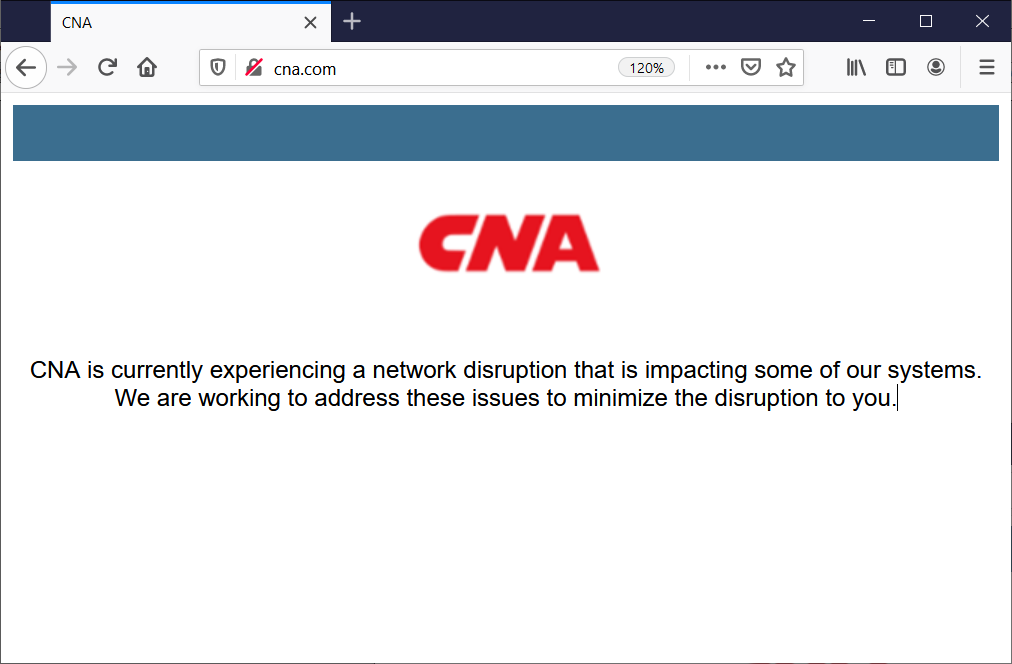CNA website outage caused by the ransomware attack