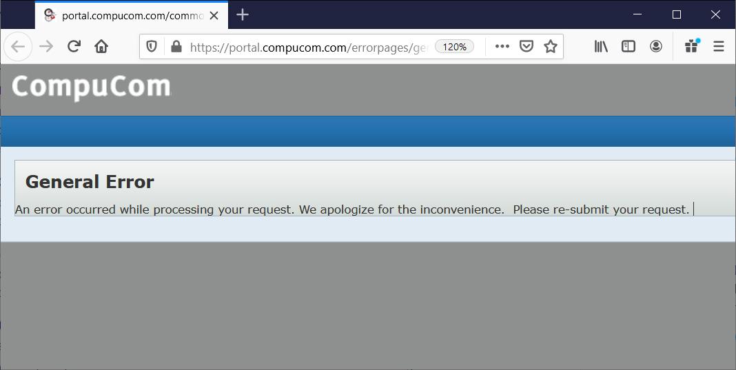 Error message on CompuCom client portal