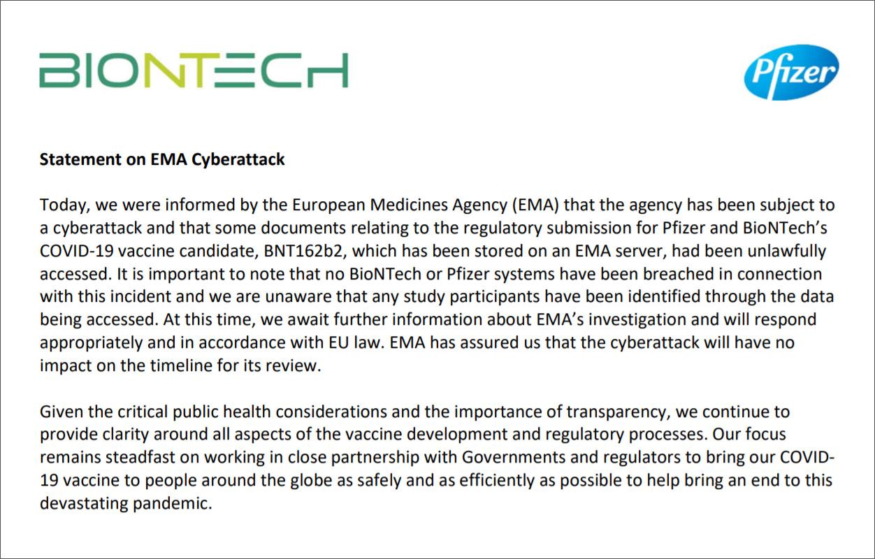 Declaración conjunta de Pfizer y BioNTech sobre ciberataque