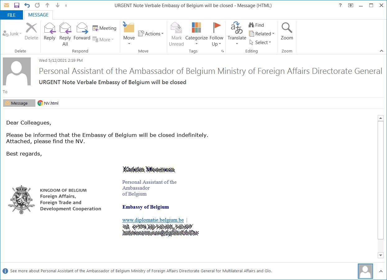 Campaña de phishing haciéndose pasar por la Embajada de Bélgica
