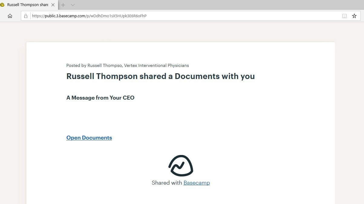 Phishing intermediary page hosted on Basecamp
