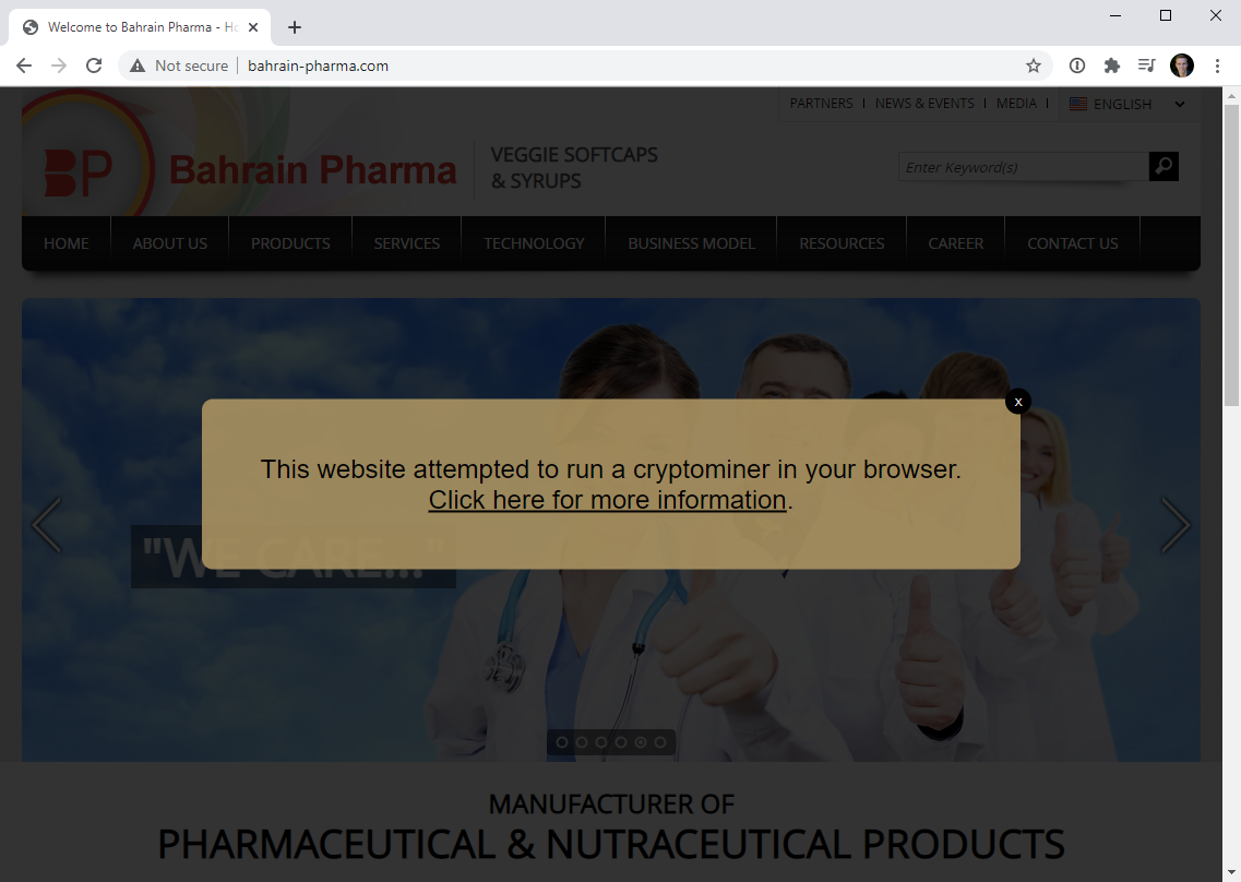 A website using displaying alert from Troy Hunt