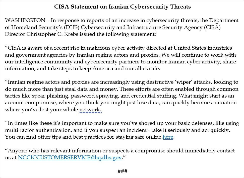 U.S. CISA Issues Alert on Iranian Cyberattacks Using Wipers