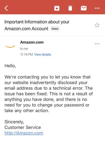 E-mail da Amazon