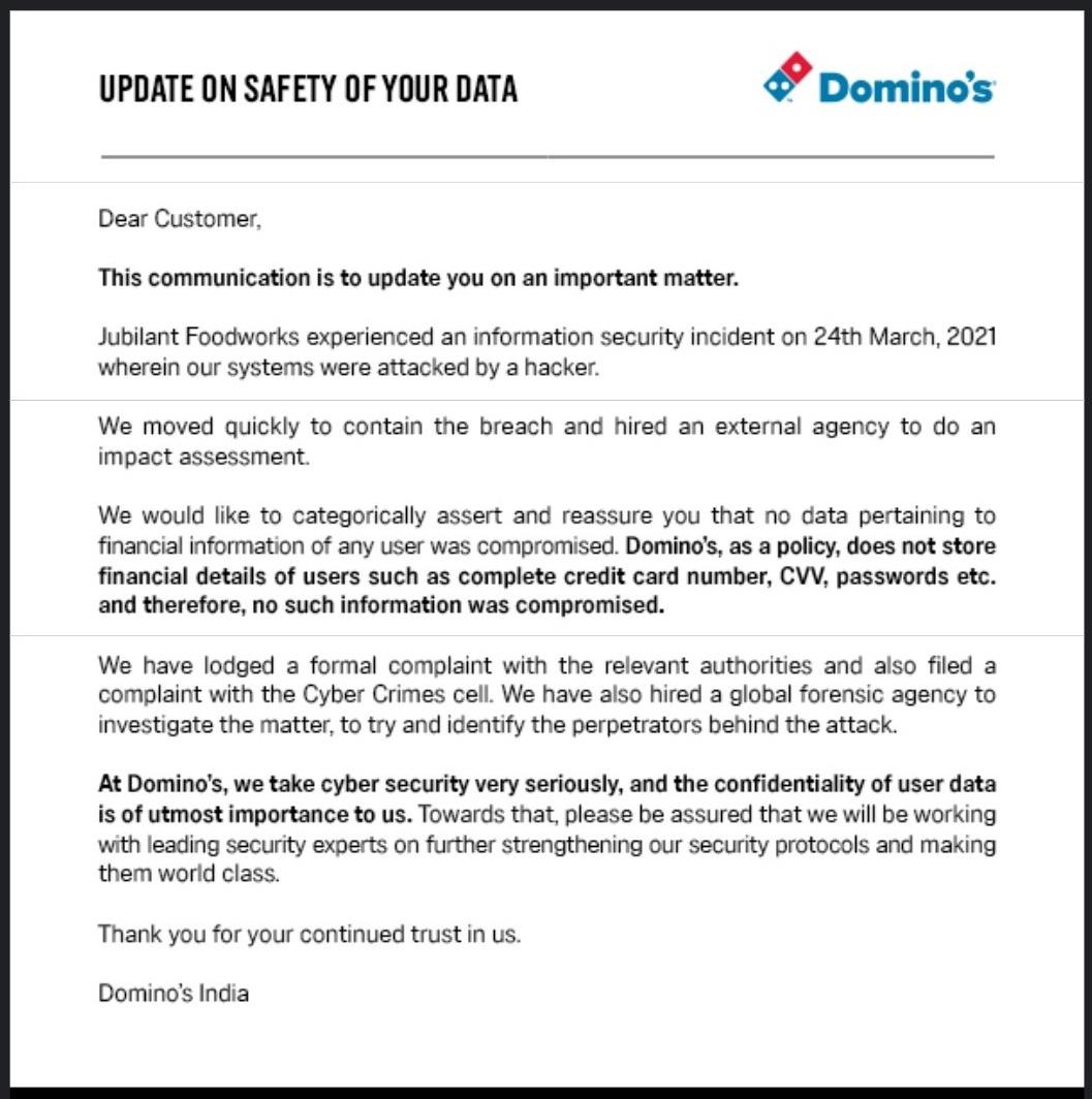 Domino's India data breach notification