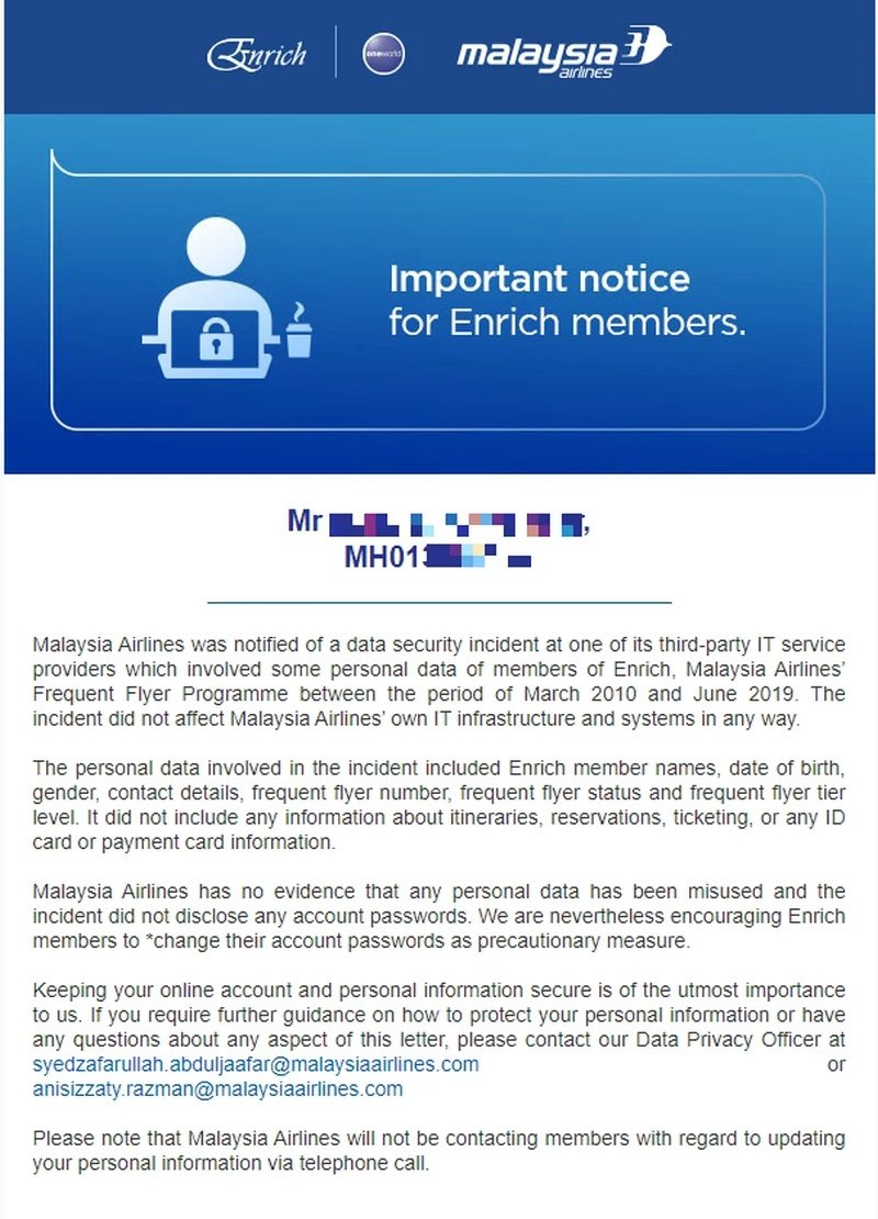 Malaysia Airlines Enrich data breach notification