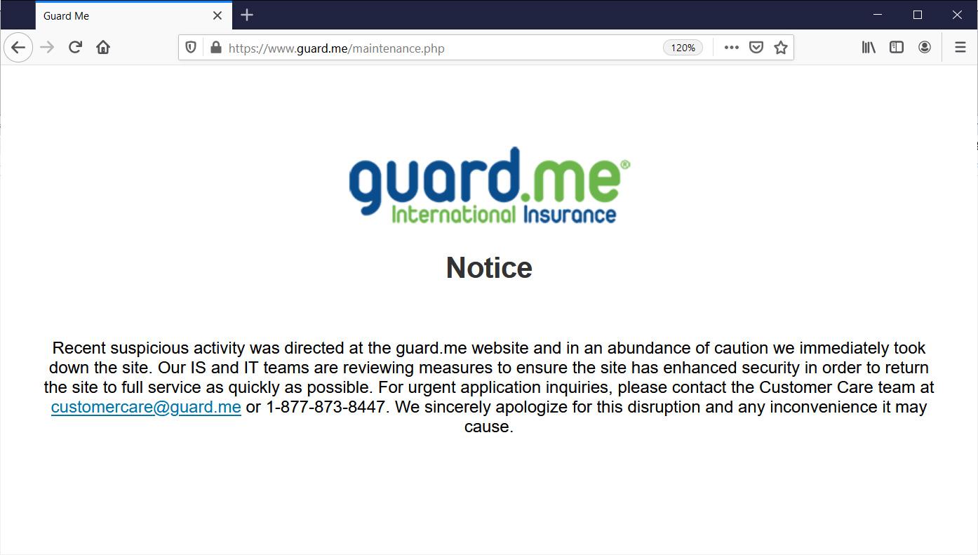 guard.me website maintenance page