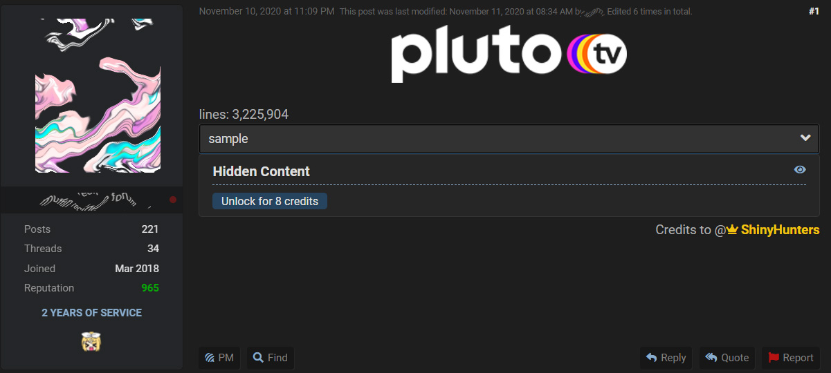 Hacker Shares 3 2 Million Pluto Tv Accounts For Free On Forum