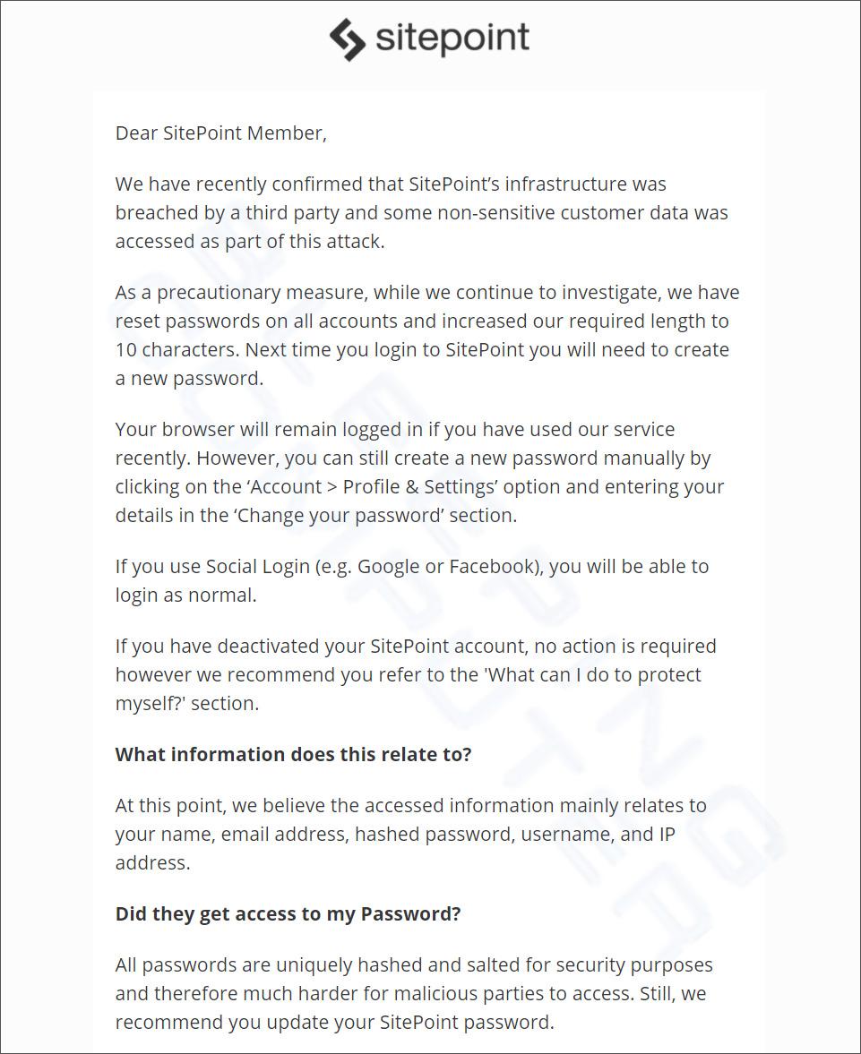 SitePoint data breach notification