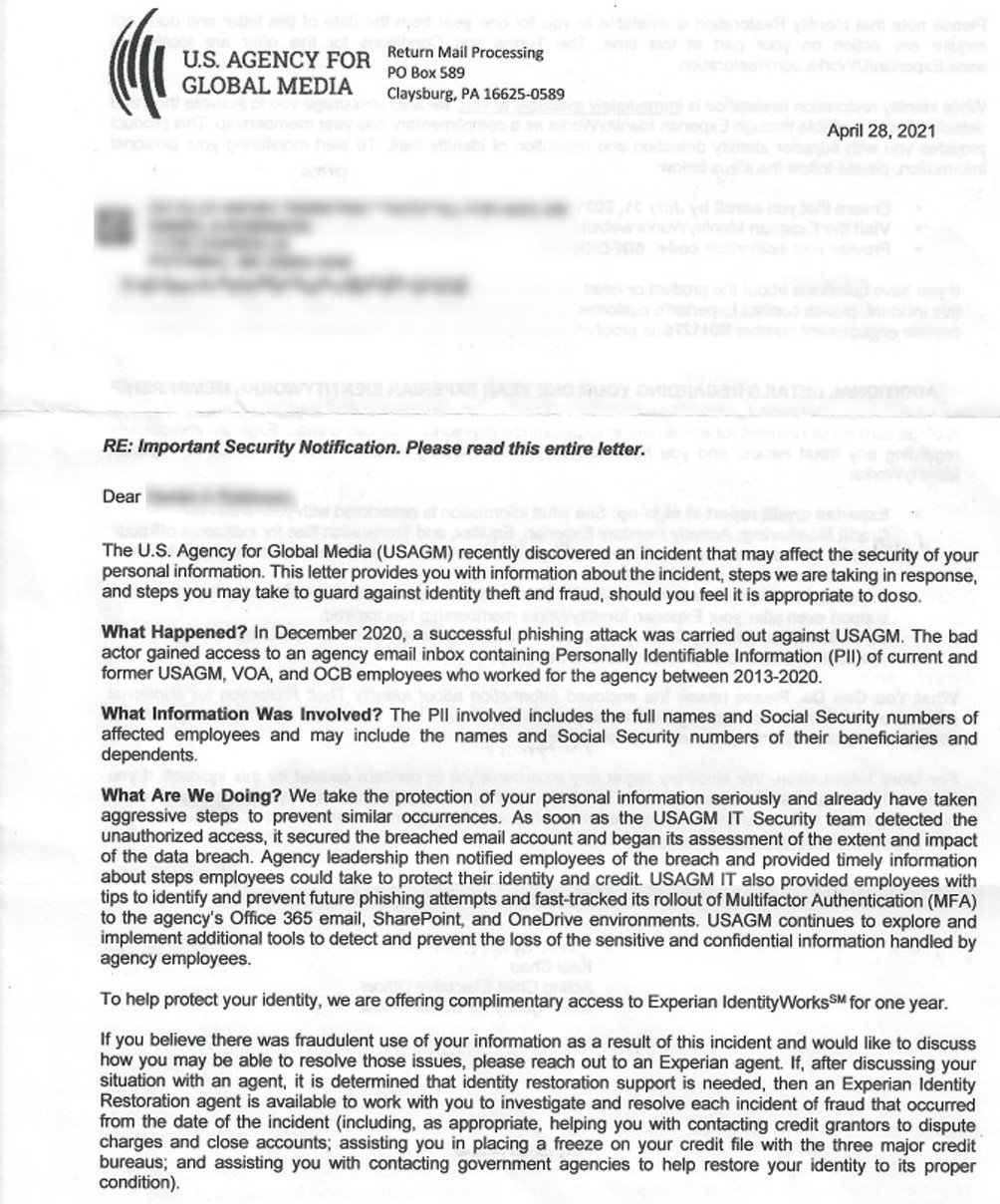 Data breach notification sent by USAGM