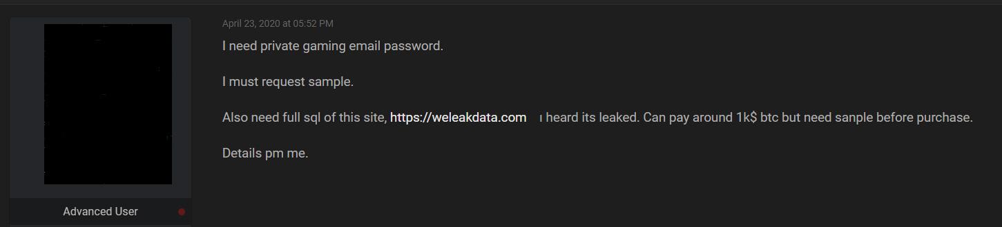 《信息泄露网站Weleakdata遭数据泄露》