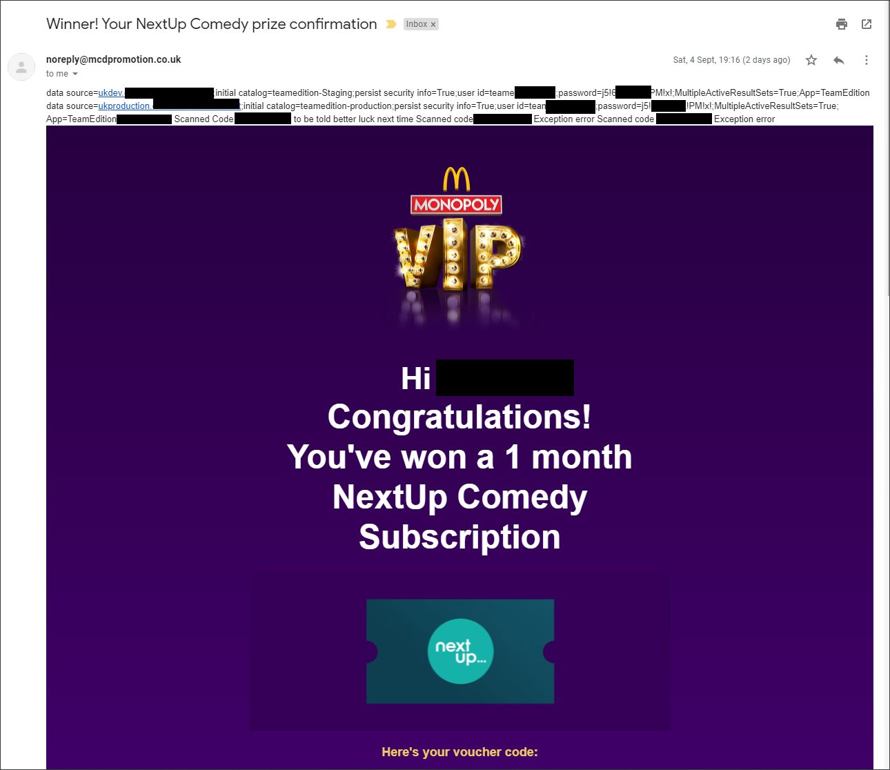 McDonalds Monopoly VIP prize email with database credentials