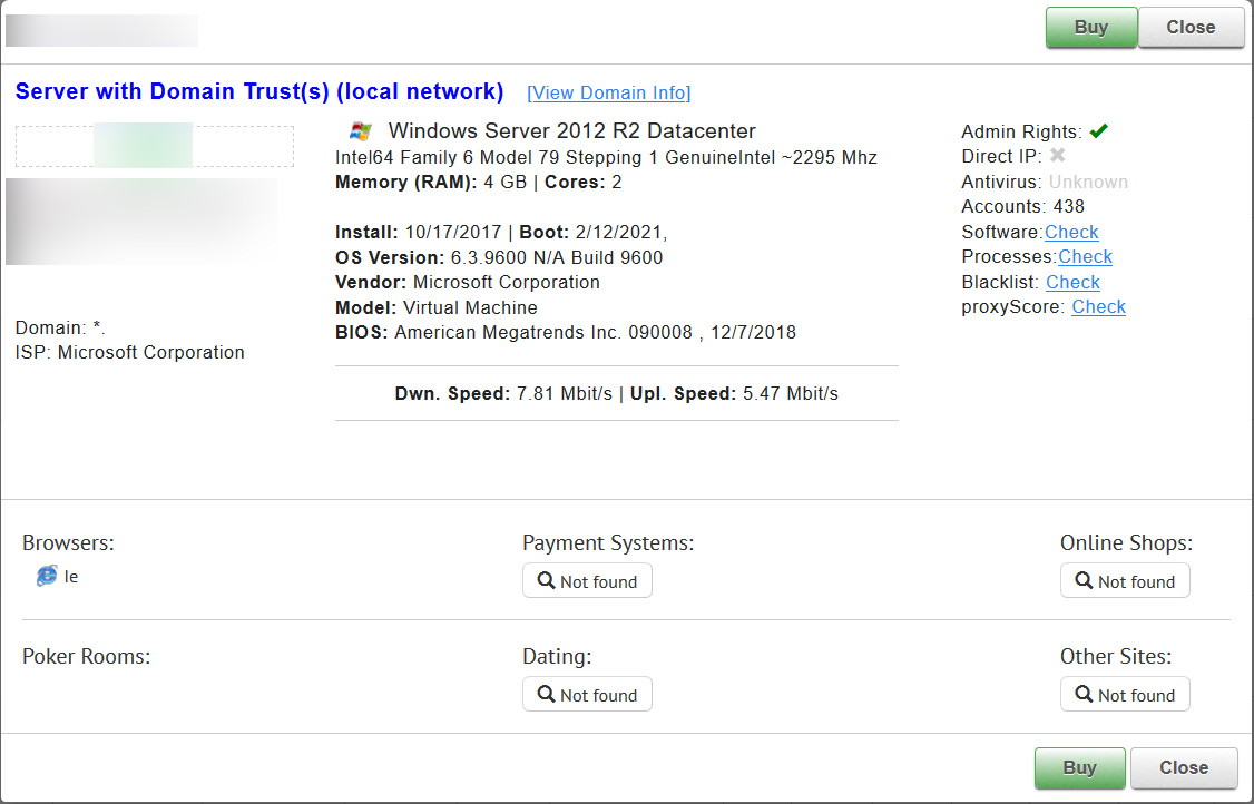 RDP server specs for potential buyers