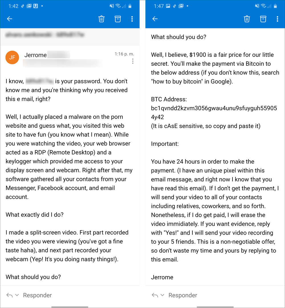 Current extortion email