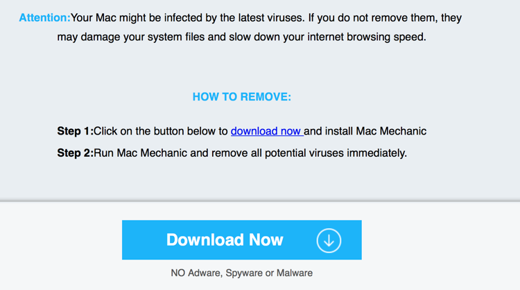 Fake Antivirus software promoted to Mac Users