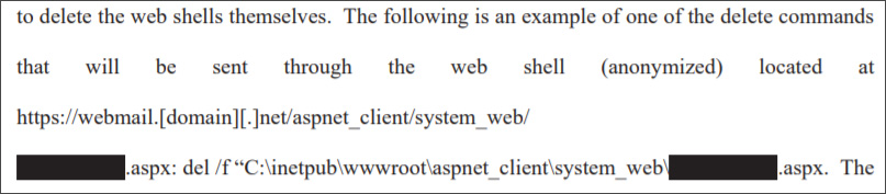 Command to remove web shells from compromised Exchange Servers