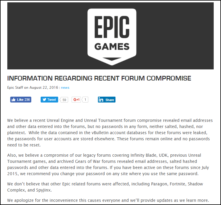 Epic Games Forums hacked and info for 800K Accounts Leaked
