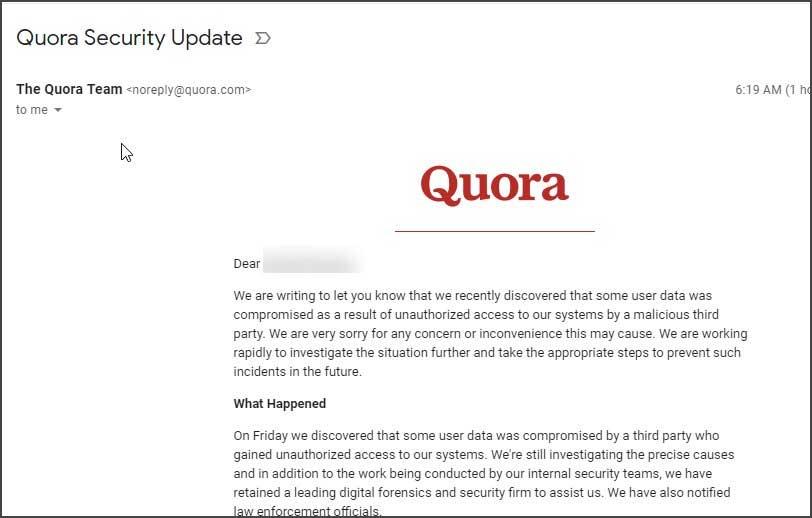 quora hacked 100 million user s data exposed