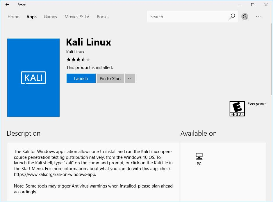 Kali Linux in Windows 10 Store