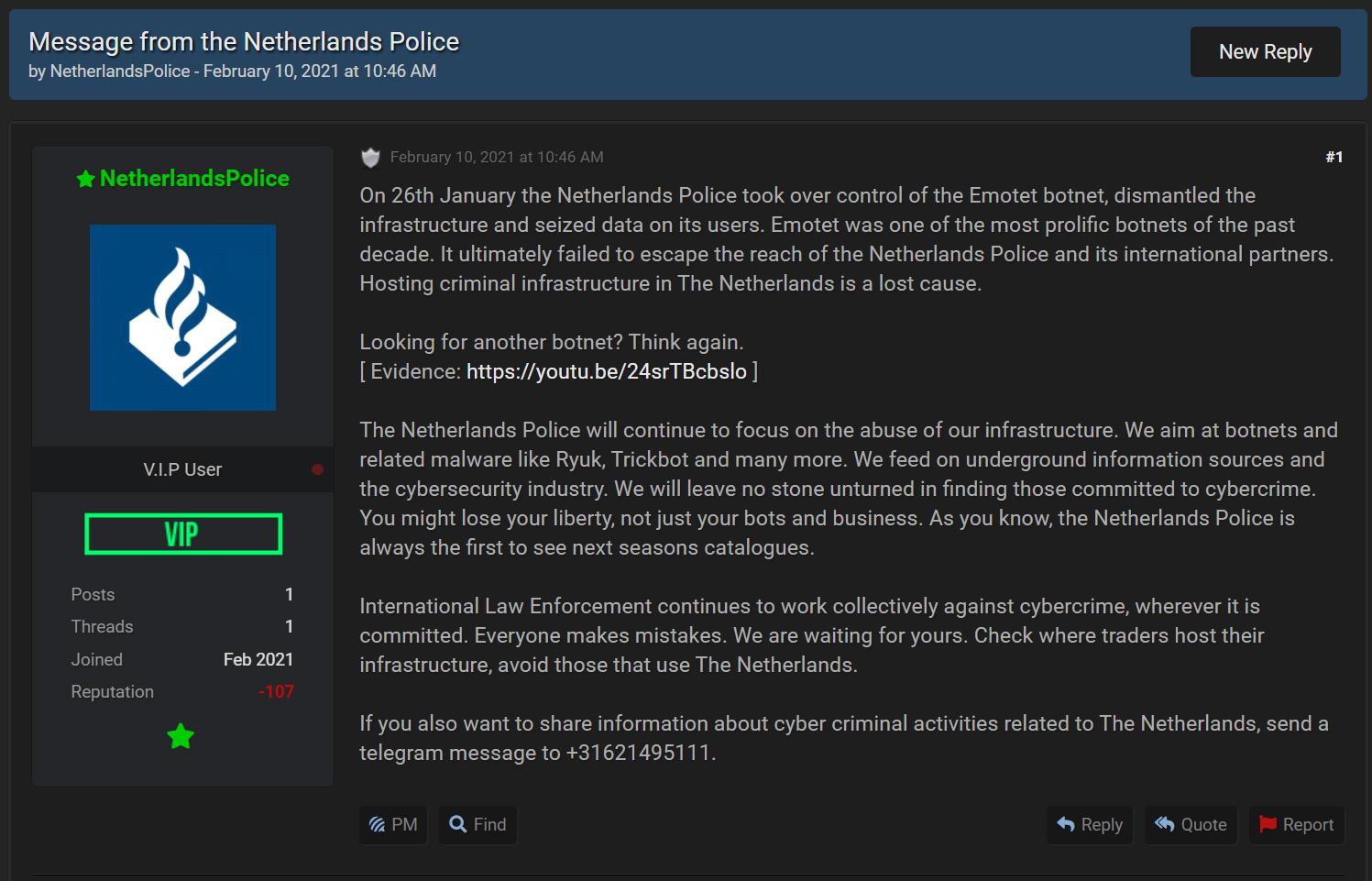 Dutch Police Post at RaidForums