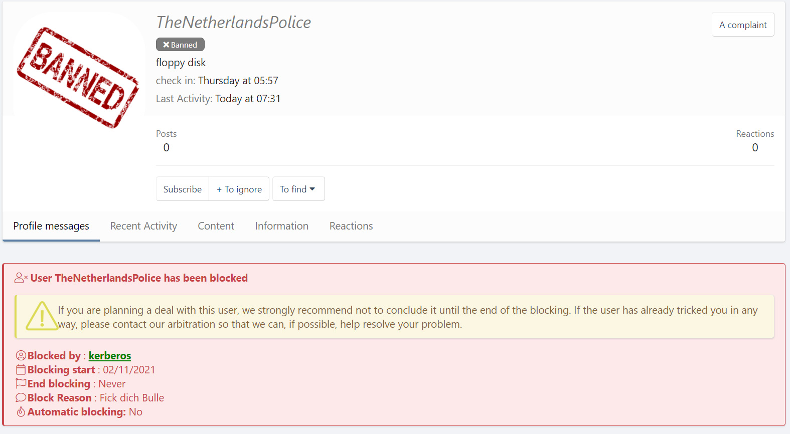XSS warning to other members