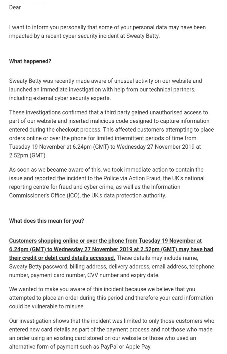 Sweaty Betty cyber security incident notification