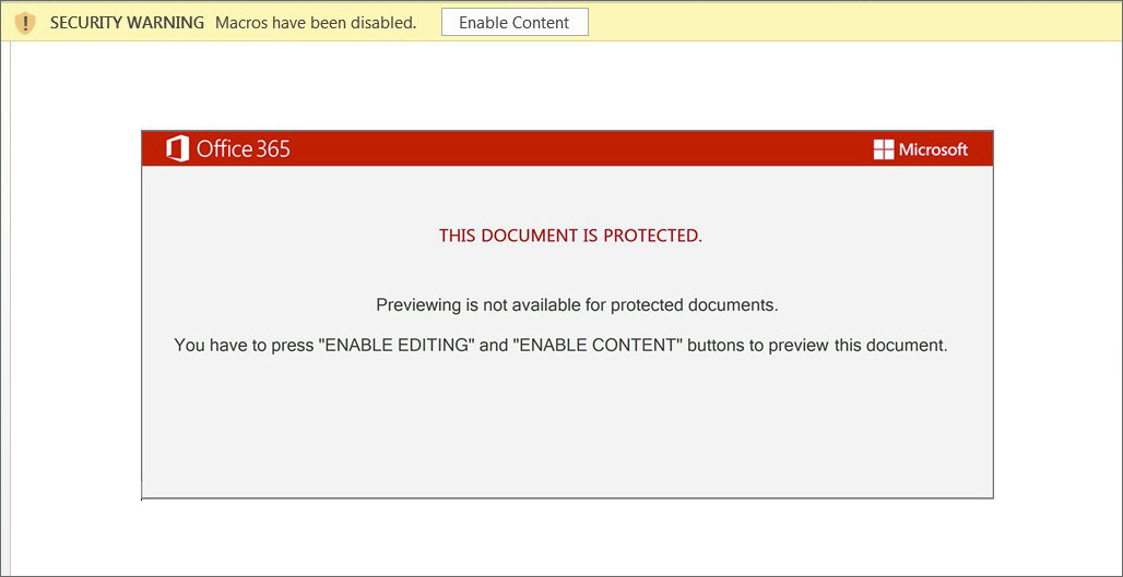 Dridex: This document is protected template