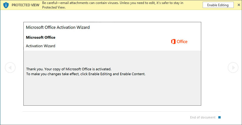 Emotet: Office Activation Wizard