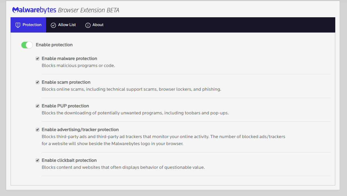 extension-options Malwarebytes Browser Extension Blocks Malware, Scams, Ads, & Trackers