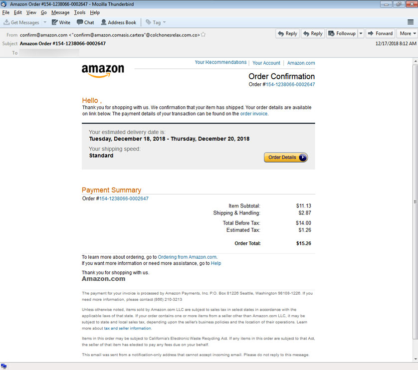 Fake Amazon Order Confirmations Push Banking Trojans on Holiday Shoppers