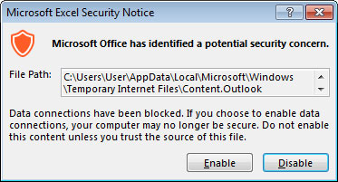 Excel Security Warning